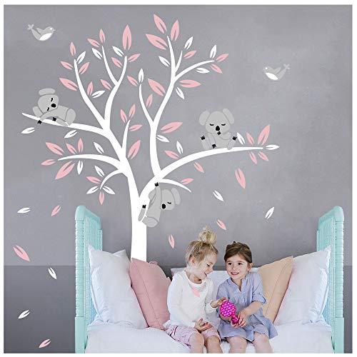 BDECOLL Adhesivo Decorativo para Pared Vinilos Arbol Decoraciones Del Arte con Hojas Blanco y Rosa 2.5*2m Acrílico Pegatinas...