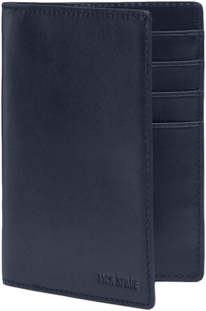 Jack Spade Walker Leather Passport Travel Wallet Navy $168