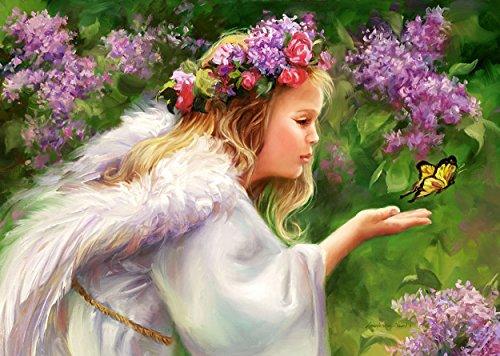 alles-meine.de GmbH Puzzle 1000 Teile - Engel mit Schmetterling - Schmetterlingsengel - romantisch Mädchen Kinder - Blumenfee im Wald / Engelchen Flieder