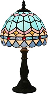 AIBOTY Blue Mediterranean Tiffany Style Table Lamp with Zinc Alloy Base, for Indoor Bedroom Bedside Lamps Bar Cafe 8
