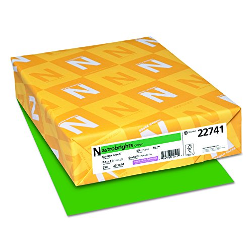 "Astrobrights Colored Cardstock, 8.5"" x 11"", 65 lb / 176 GSM, Gamma Green, 250 Sheets (22741)"