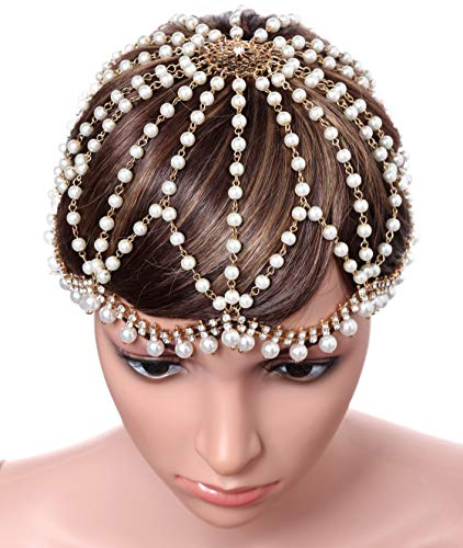 BABEYOND Vintage 1920s Crystal Flapper Cap Headpiece Roaring 20s Gatsby Pearl Rhinestone Flapper Cap Headpiece 1920s Gatsby Accessories (Gold)