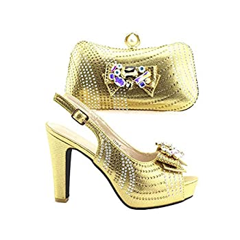Women Pumps Italian Shoe with Matching Bag Set Decorated with Rhinestone Shoes and Matching Bags,2,9.5