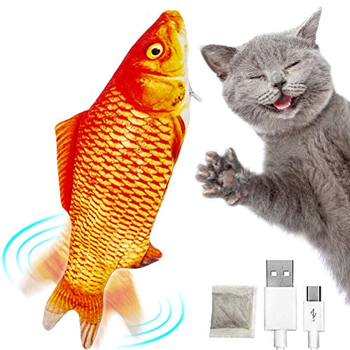 Labeol Floppy Fish Cat Toy Catnip Kitten Toys Interactive Cat Toys for Indoor Cats Realistic Electric Wagging Cat Kicker…