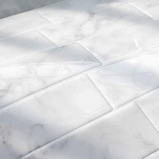 FARONZE Peel and Stick Tiles Backsplash,Self Adhesive Wall Tiles for Kitchen & Bathroom Calacatta Marble Design 11.25