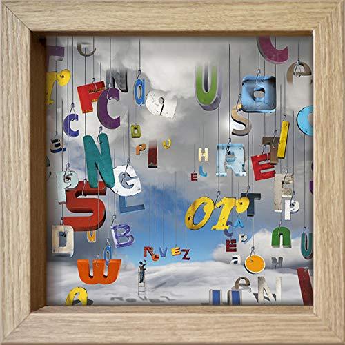 International Graphics - Cartolina incorniciata'The Lettres Pour le Dire : rêvez !' - 16 x 16 cm – Cornice in legno.