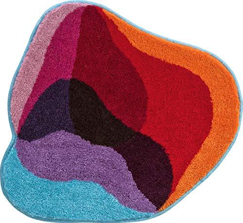 Grund KARIM RASHID Exklusiver Designer Badteppich 100% Polyacryl, ultra soft, rutschfest, ÖKO-TEХ-zertifiziert, 5 Jahre Garantie, KARIM 21, WC-Vorlage o.A. 60x60 cm, rot-bleu
