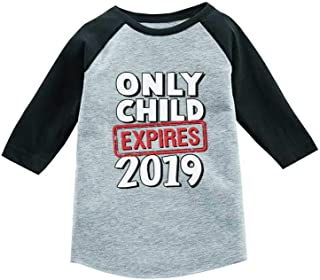 Tstars Funny Only Child Expires 2019 Siblings 3/4 Sleeve Baseball Jersey Toddler Shirt