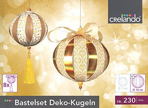 CRELANDO® Bastelset Weihnachtsschmuck, Deko-Kugeln groß Ø10cm, 230-teilig (Gold/weiß/Bronze - Set 2)