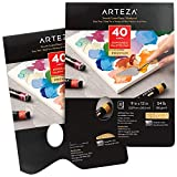 Arteza Disposable Palette Paper Pad, 9x12 Inch, Pack of 2, 80 White Sheets, 54 lb, Glue-Bound, Bleed-Proof Paint Palette with Thumb Hole, for Oil Paint, Acrylics, Watercolors & Gouache