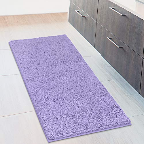 MAYSHINE Bath Mat Runners for Bathroom Rugs, Long Floor Mats, Extra Soft, Absorbent, Thickening Shaggy Microfiber, Machine-Washable, Perfect for Doormats,Tub, Shower (27.5x47 Inches, Lavender)
