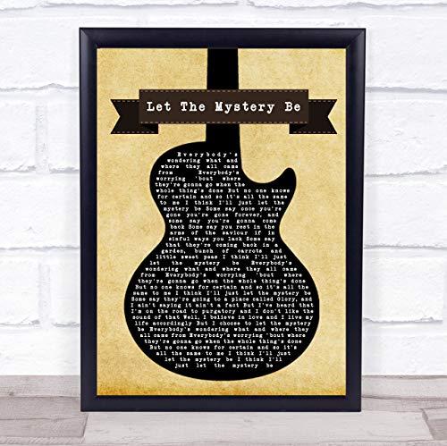 Impresión de música con cita lírica, diseño de huellas dactilares Let The Mystery Be Black Guitar Song Framed Oak Medium
