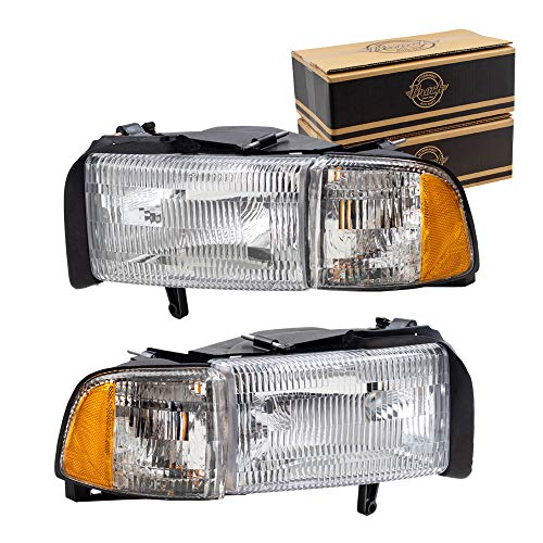 Replacement Set Driver and Passenger Halogen Headlights with Corner Lamp Compatible with 1994-2002 Ram Pickup Truck 55076749AD