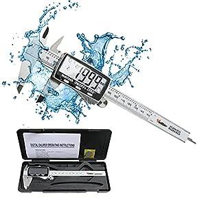 Calibre Digital,Vodlbov 150mm Pie de Rey Digital Calibrador Digital Profesional Electrónico Vernier Caliper,Gran pantalla LCD,Alta Precisión Micrómetro,Medida de Diámetro Interior,Exterior,Profundidad
