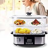 Vaporiera Elettrica con Timer e 2 cestini, 12 Litri Vaporiera BPA Free da 800 W, Vaporiera Pentola per riso, verdure, pollo e pesce