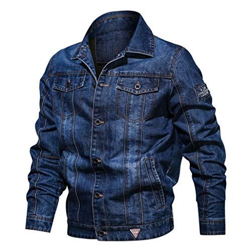 Azruma Herren Jeansjacke Biker Style Jeans Jacket Blue Denim Jacke Blau Herren Winterjacke Jacke Jeansjacke Plus Größe Bomberjacke Steppjacke Wintermantel Schnalle Jacke Mantel Denim Jacke
