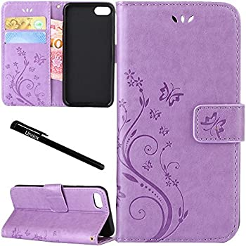 for iPhone 6 Plus/iPhone 6S Plus Case Urvoix Card Holder Stand Smooth Hand Feel PU Leather Wallet Case - Embossed Flower Butterfly Flip Cover for 5.5  Version iPhone6 Plus/6S Plus  NOT for 6  Lilac