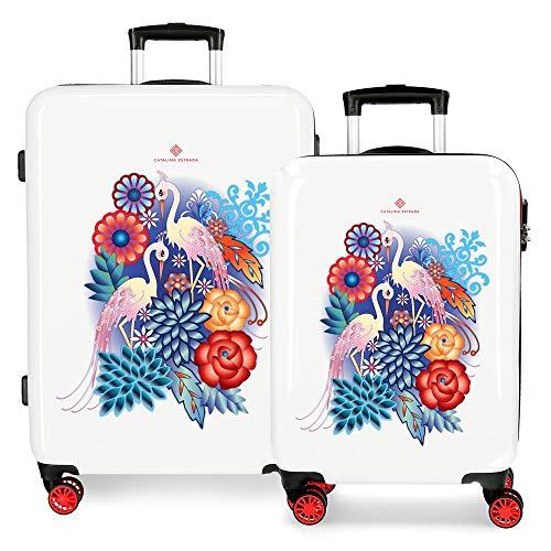 Catalina Estrada Abanico Juego de maletas Rojo 55/68 cms Rígida ABS Cierre combinación 104L 4 Ruedas dobles Equipaje de Mano