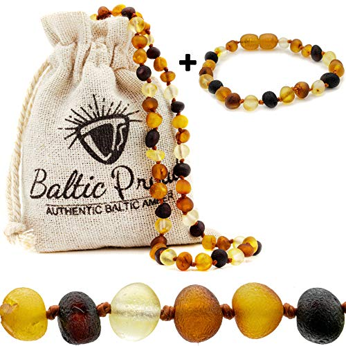 Raw Baltic Amber Necklace and Bracelet Gift Set (Unisex Multi Raw 12.5 Inches/5.5 Inches) - Certified Premium Quality Raw Baltic Sea Amber
