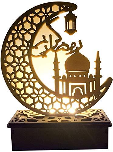 Eid Mubarak Ramadan LED Holz Lampe, Muslim Ramadan Festival Dekoration Halbmond Star Lanterns, Halbmond Nachtlicht Für Muslimischen Islam Eid, Wesentliche Dekorationen für Ramadan-Gebete (#2)
