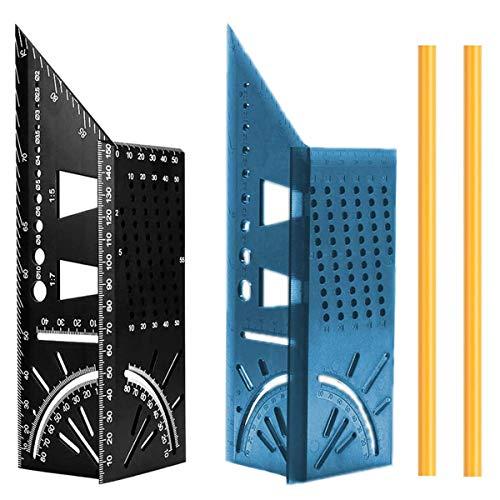 Lineal für Holzbearbeitung, quadratisch, 2 Stück 3D-Gehrungswinkel 45°/90° Vierkantlehre Lineal T-Form Schwalbenschwanzgelenk Messwerkzeug für Tischler, Bauarbeiter, Handwerker