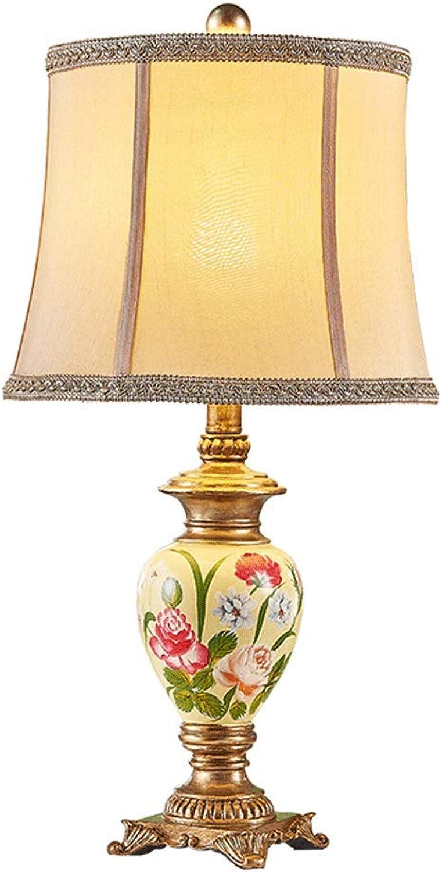 NJ Tischleuchte- Europische Luxus handbemalte Blaumen und Vgel Tischlampe Schlafzimmer Nachttischlampe Wohnzimmer Stoff dekorative Schreibtischlampe