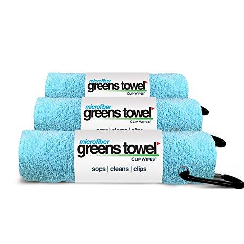 Greens Towel Praktische Mikrofaser-Golf-Handtücher mit Clip, Karibikblau, 3 Stück