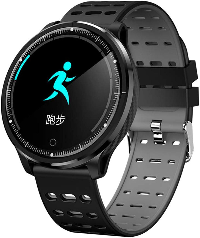 JingJingQi Fitness-TrackerP71 Smartwatch Mnner Frauen IP68 Wasserdichtes Herzfrequenz-Blautdruckmessgert Sport Sleep Tracker Smart Watch VS L5 S226, schwarz mit grau