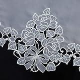 Heichkell Voile Weiße Raffgardine Bestickt Transparentes Raffrollo mit Schlaufen Klassischer Vorhangschal Küche Gardine Blumenstickerei Borte BreitexHöhe 100x155cm - 5