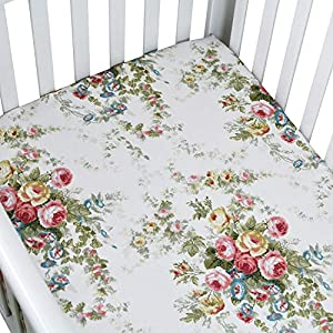 Brandream Crib Sheet Girls Soft Cotton Floral Toddler Sheets Printed, All Seasons Use Cozy Hypoallergenic Vintage Shabby Baby Sheets for Standard Crib and Toddler Mattress, White Elegant Nursery Decor