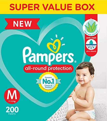 Pampers All round Protection Pants, Medium size baby diapers (MD), 200 Count, Anti Rash diapers, Lotion with Aloe Vera