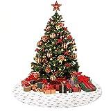 Anyingkai Falda de Árbol de Navidad,Pie de Árbol de Navidad,Pies de Árbol de Navidad,Felpa Base de Árbol de Navidad,Falda de Árbol de Navidad Rojo (Nieve Blanca, 90cm)