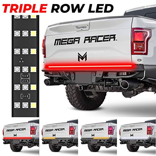 "Mega Racer 60"" 3 Row LED Tailgate Light Bar 4 Function Reverse Turn Signal Running Yellow White Red LED Brake Light Strip Truck Bed Lights LED Tail Lights LED Light Bars LED Truck Lights Truck Light"