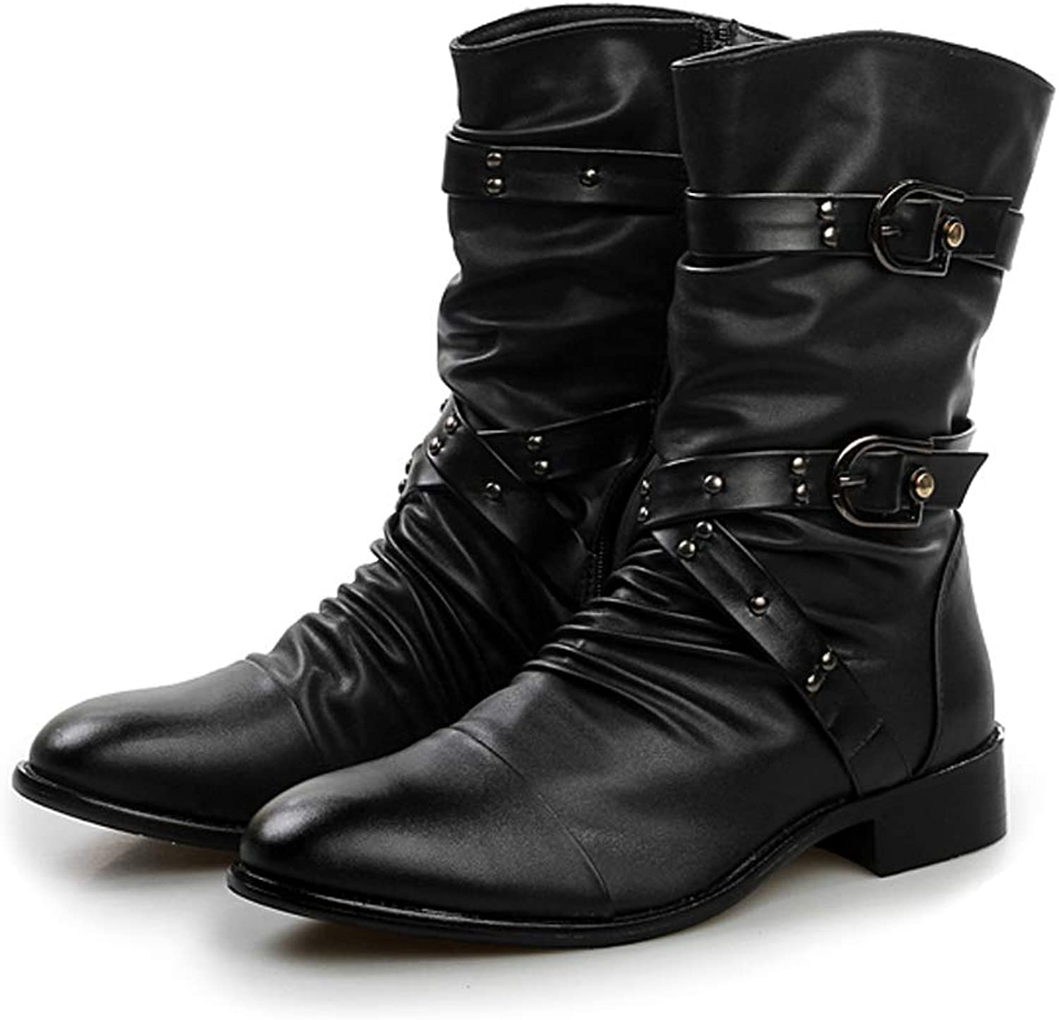 Sunny&Baby Men's Combat Mid-Calf Boots Belt Buckle Slouchy Genuine Leather Vamp Style Ankle Military Motorcycle shoes Durable