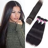 Brazilian Straight Hair 9A Grade Virgin Hair 3 Bundles With Closure Free Part