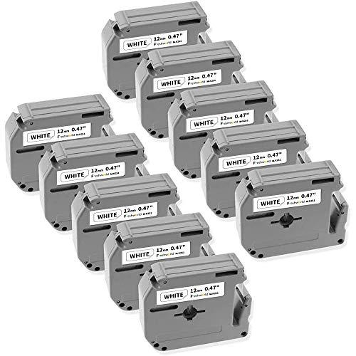 Freshworld Compatible Label Tape Replacement for 12mm 0.47Inch P-Touch M Tape MK-231 M231 M-K231 M-231,Black on White,for Brother Ptouch Label Maker PT-M95,PT-90,PT-80,PT-65,PT-70BM,PT-70SR,PT-85,10P