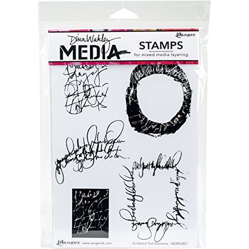 Ranger Scribbled Text Elements Dina Wakley Media Cling Stamps, 6' x 9'