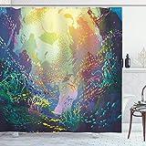N \ A Cortina de ducha de animales marinos, bajo el agua con arrecife y colorido pescado rium, juego de baño con ganchos, 72 pulgadas de largo