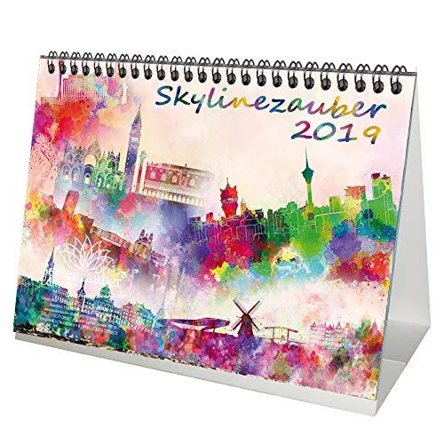 Skylinemagie II · DIN A5 · Premium tafelkalender/kalender 2019 · USA · Azië · Canada · Europa · Skyline · stad · grote stad · kunst · schilderij · aquarel · Edition Seelmagie