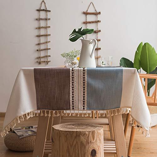 Aonewoe Tovaglia Rettangolare 140x200cm Decorazione Elegante Tovaglia di Lino in Cotone con Bordo Nappa Copertura Lavabile in Polvere Lavabile Anti-Polvere per Tavolo da Pranzo (Blu E caffè)