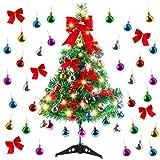 Migaven Arbol de Navidad Pequeño, Árbol de Navidad de Mesa 60cm Decoración de Mesa de Navidad Pequeño con Adornos de Bolas, Nudos de Lazo para En Casa para Decoración de Mesa de Fiesta de Navidad