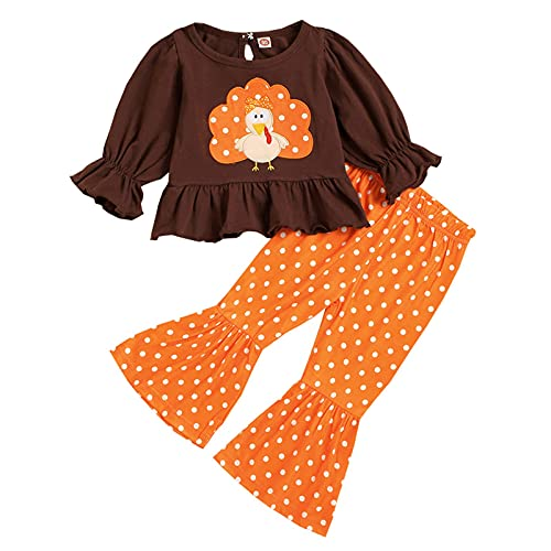 Conjunto de 2 piezas para bebés y niñas, diseño de pavo con volantes, estampado de leopardo, naranja, 120 cm
