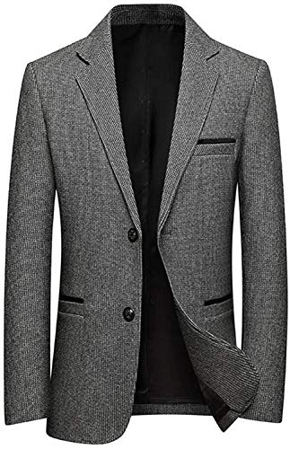 Men's Classic Plaid Sport Coats Casual One Button Single Breasted Notched Lapel Checked Suit Jacket Overcoat Outwear,Gray,X-Large