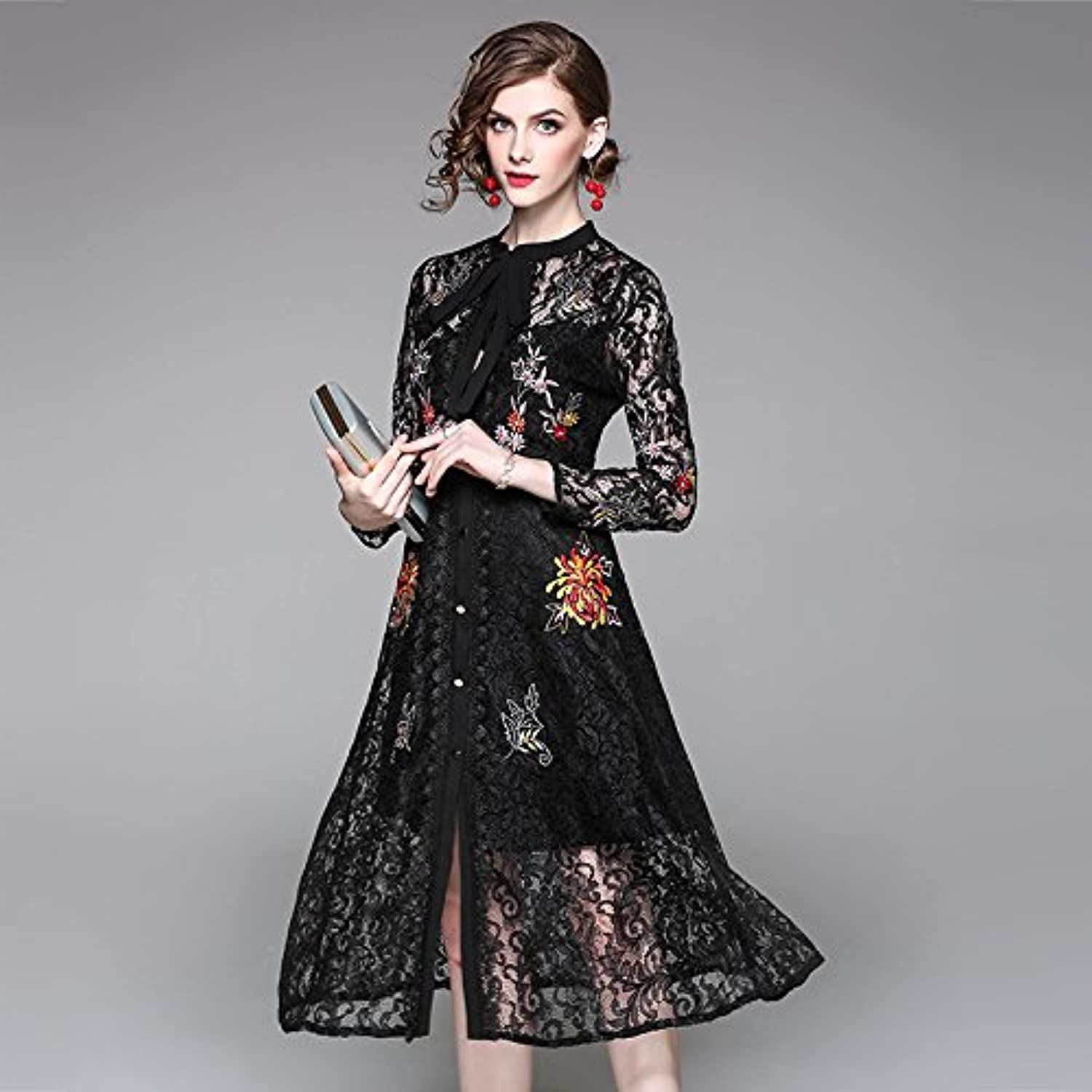 Xuanku Neue Weibliche Aristokratischen Temperament Elegante Göttin Lace Long-Sleeved Long-Sleeved Long-Sleeved Kleider B07561FQRK  Moderne und elegante Mode 68b26f