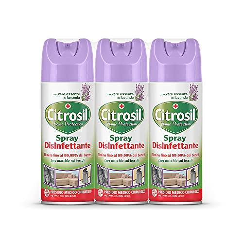 Citrosil Home Protection - Spray Disinfettante Superfici Multiuso, Elimina Fino al 99,9% dei Batteri, con Vere Essenze di Lavanda, 300 ml x 3 Confezioni