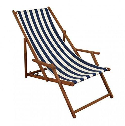 Erst-Holz Gartenliege blau-weiß Liegestuhl Sonnenliege Strandstuhl Deckchair Buche dunkel klappbar 10-317