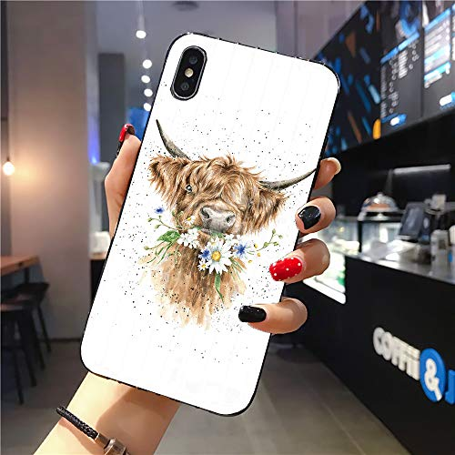 Rocking Giraffe | Compatible with iPhone 11 Pro Max Case | Tough Groove | Soft TPU Engraved Grooves Phone Case | Shockproof Anti-Scratch | Scottish Highland Yak White Daisy Watercolor