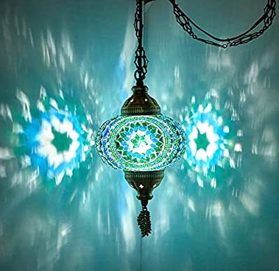 """(8 Colors) DEMMEX Turkish Moroccan Mosaic Swag Plug in Pendant Ceiling Hanging Light with 15feet Cord Decorated Chain & North American Plug (Teal - 6"""" Diameter)"""