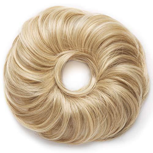 La Viora® Haarteil Messy Bun I Hochsteckfrisur Dutt mit extra viel Haar (45g) I Dutt Haarteil mit Gummiband für festen Halt I vegan und dermatologisch getestet I Haargummi mit Haaren I Blond #24