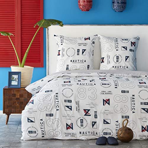 NAUTICA Home Discovery, Juego de Funda Nórdica, 100% Algodón, 200 x 200 cm + 2 fundas de almohada 65 x 65